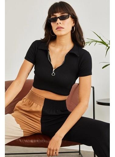 Sortee Kadın Polo Yaka Kaşkorse Crop Bluz Siyah